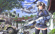 artist:hase_yuu helicopter post-apocalyptic school_uniform tagme vehicle weapon_to_identify // 1400x865 // 441.0KB