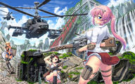 artist:hase_yuu helicopter school_uniform tagme vehicle weapon_to_identify // 1400x872 // 473.3KB