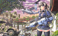 artist:hase_yuu helicopter post-apocalyptic school_uniform tagme vehicle weapon_to_identify // 1400x865 // 432.0KB